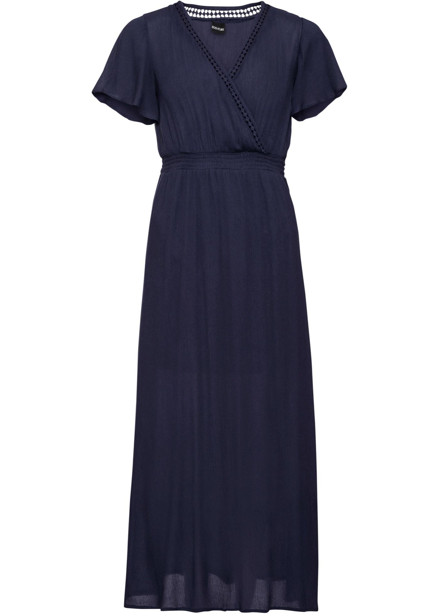 Maxikleid mit Spitze kurzer Arm  in blau für Damen von bonprix