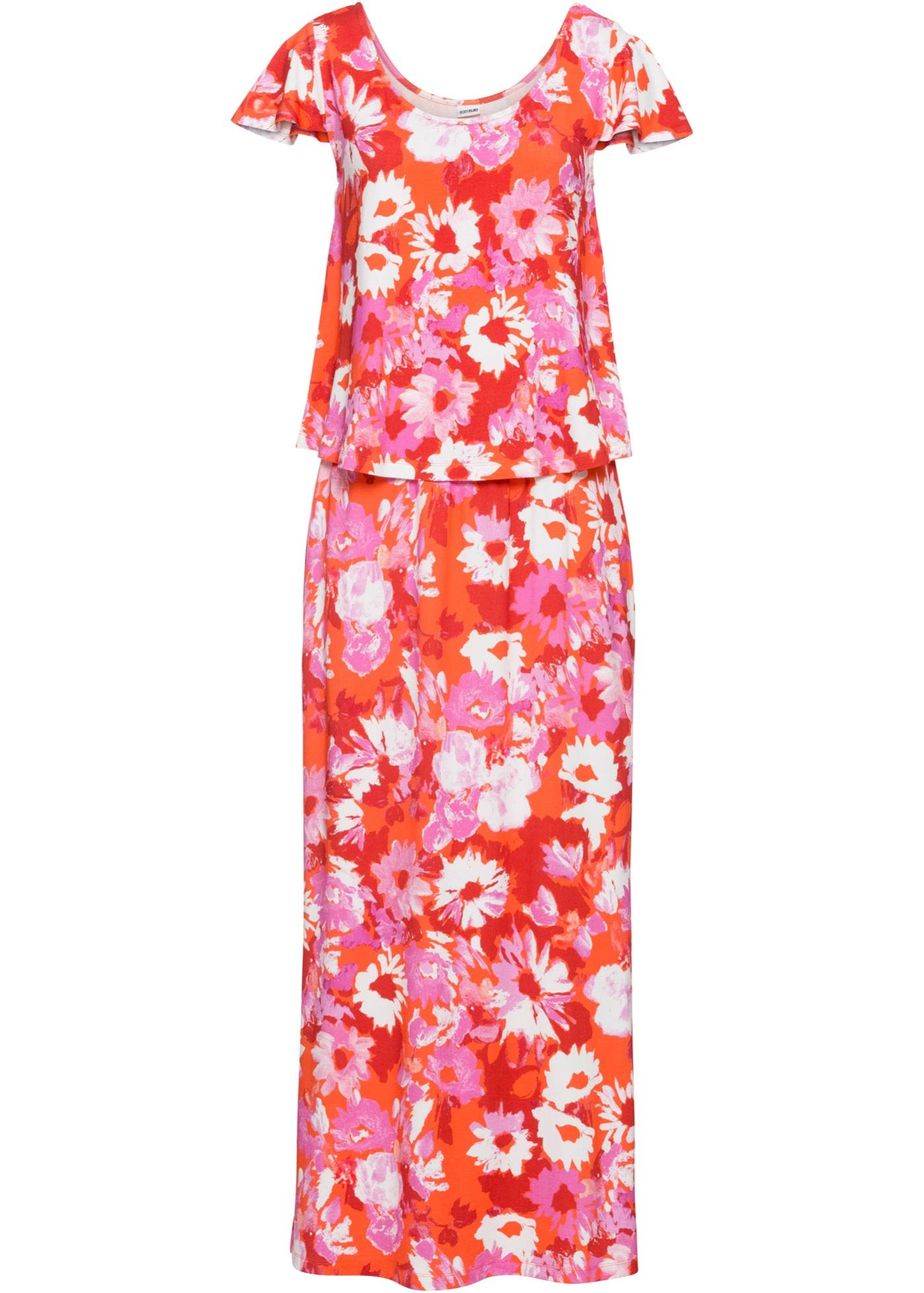 Jersey-Maxikleid, bedruckt ohne Ärmel  in pink für Damen von bonprix