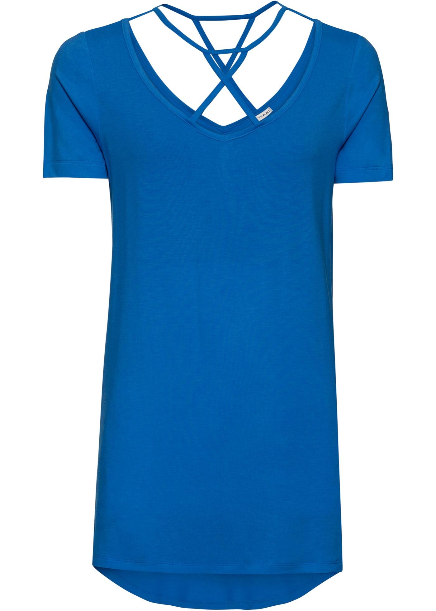 Vokuhila-Shirt mit Schnürung kurzer Arm  in blau für Damen von bonprix
