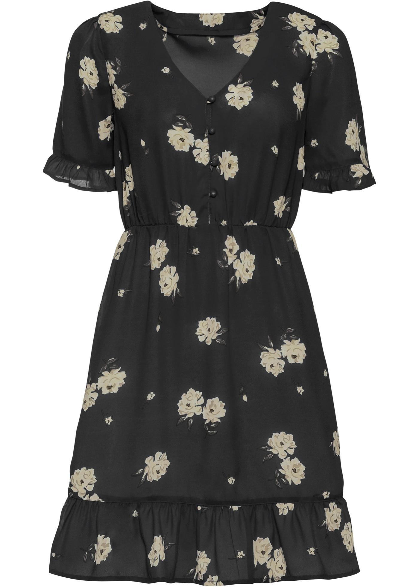Kleid mit Volants halber Arm  in schwarz für Damen von bonprix