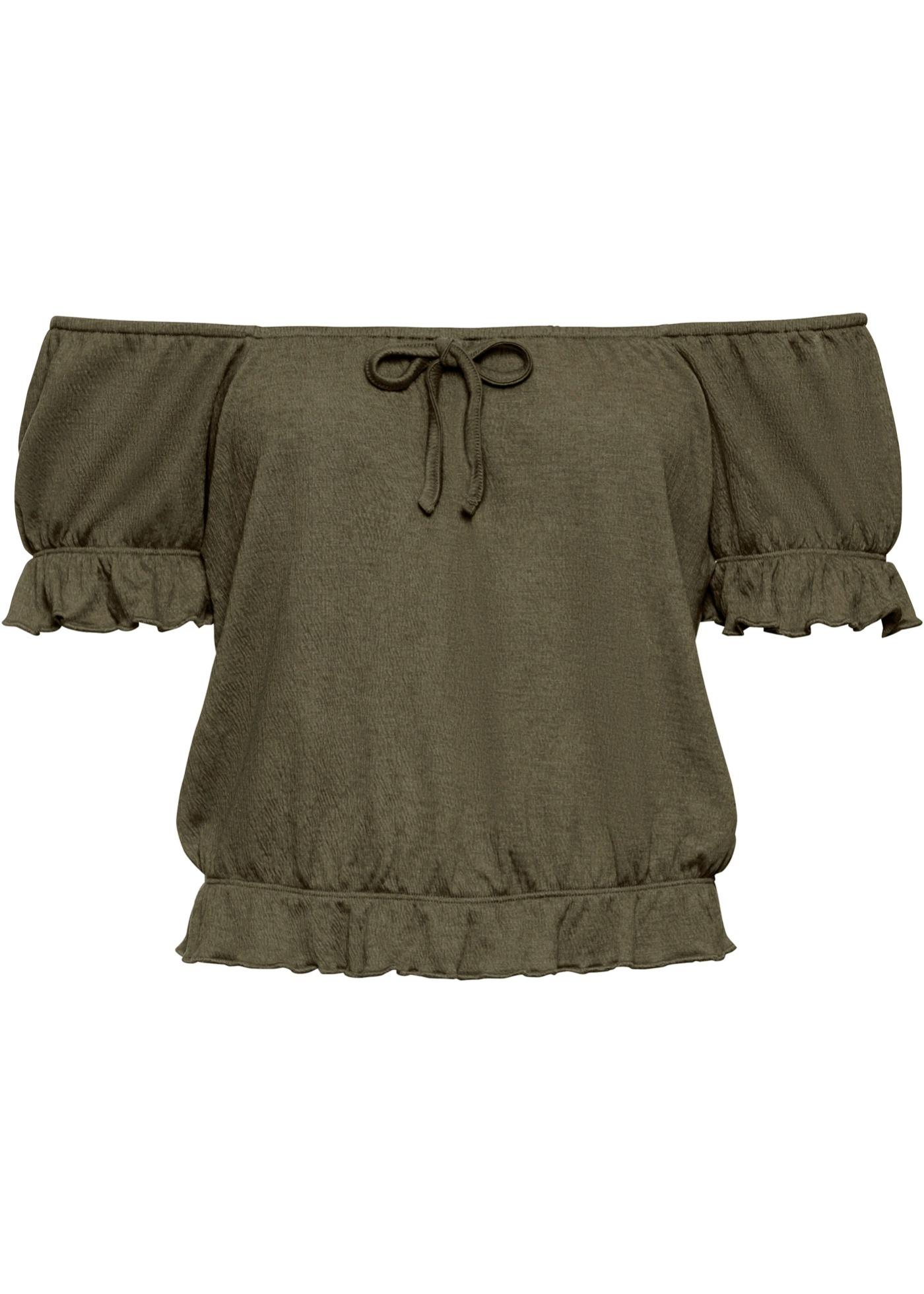 Carmenshirt mit passendem Haargummi in grün für Damen von bonprix