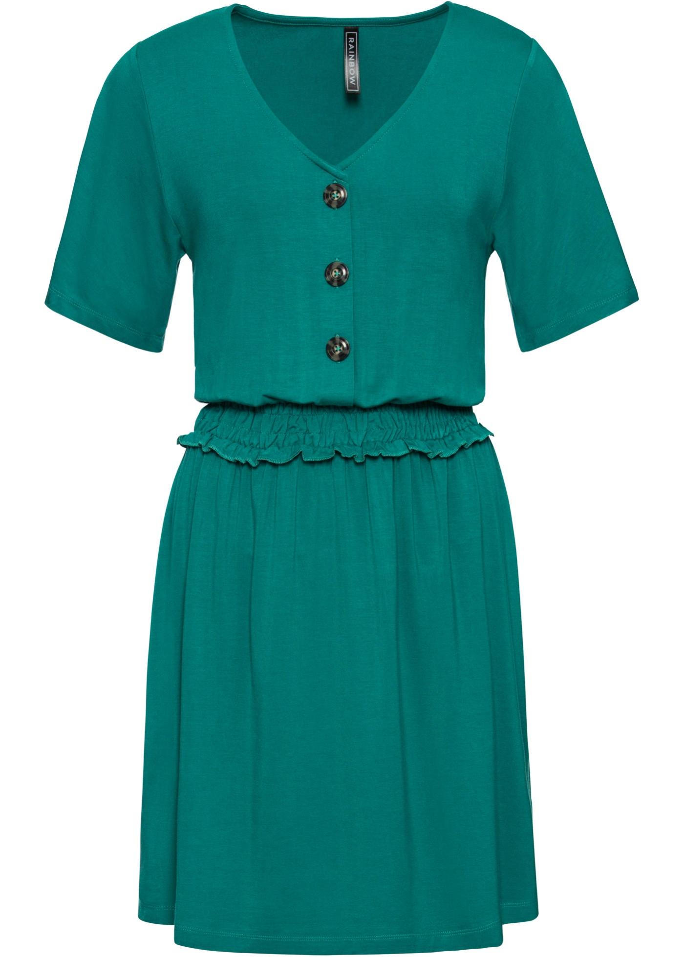 Shirtkleid mit Smock-Detail Flügelärmel  in grün für Damen von bonprix
