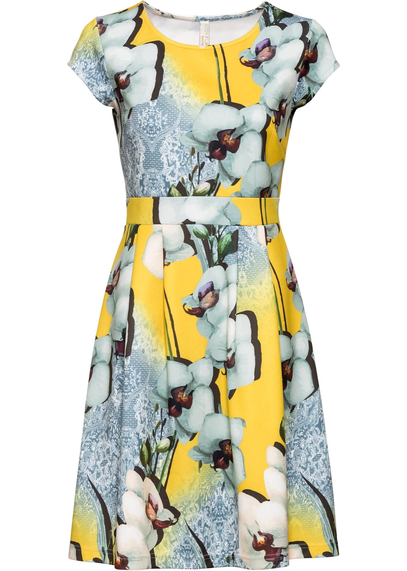 Kleid mit Muster kurzer Arm  in gelb für Damen von bonprix
