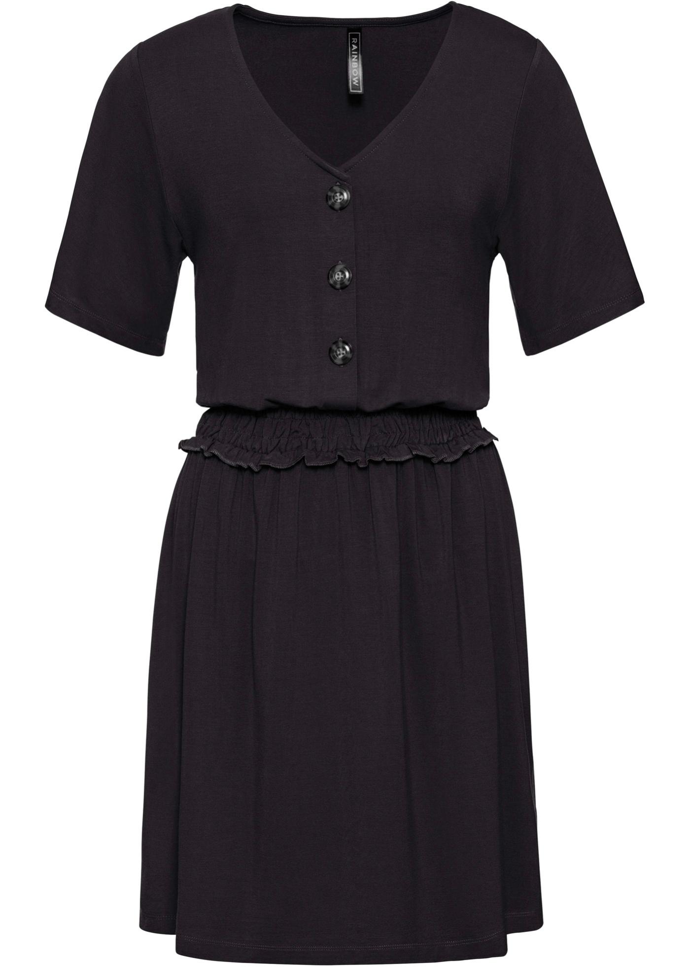 Shirtkleid mit Smock-Detail Flügelärmel  in schwarz für Damen von bonprix
