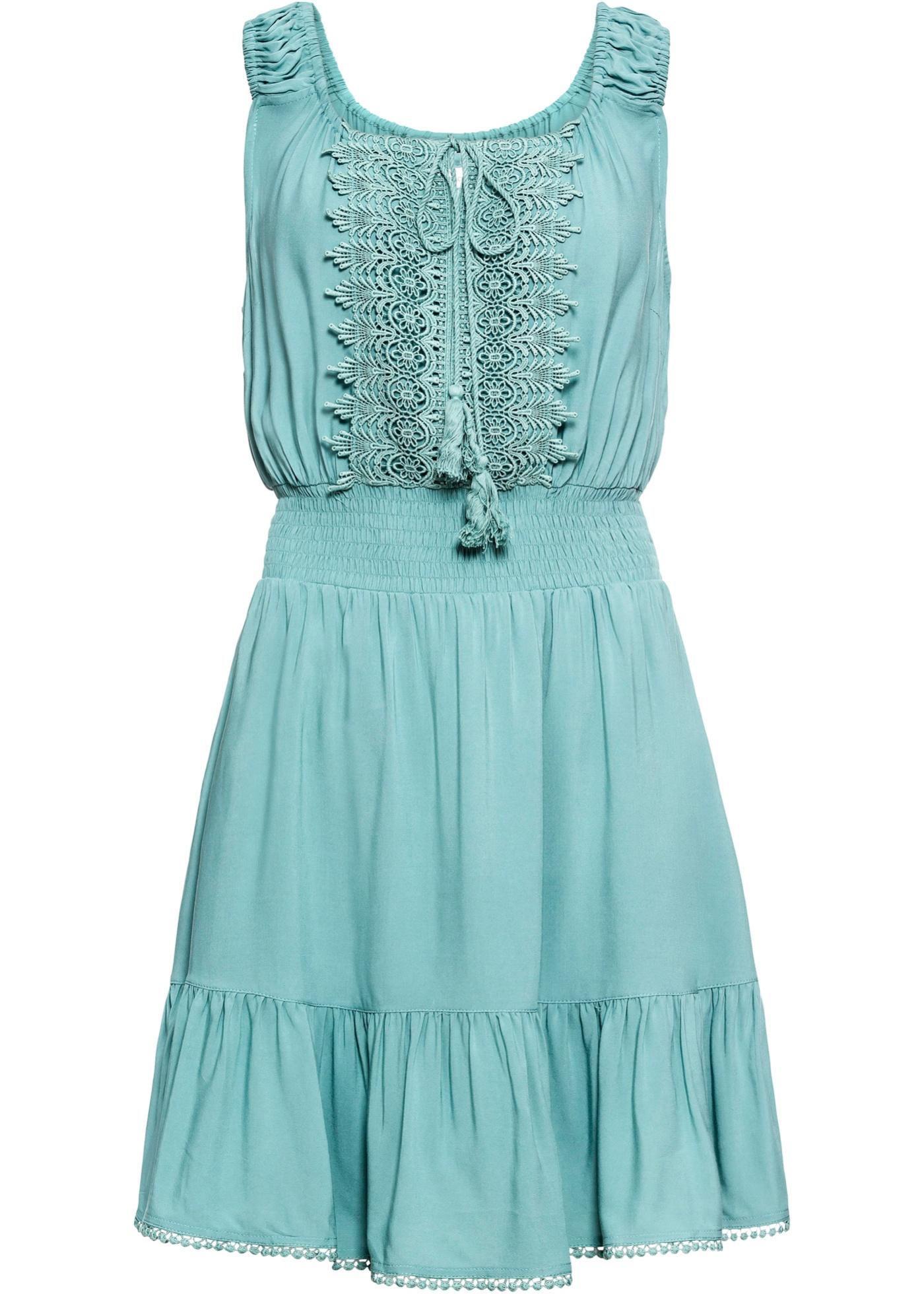 Kleid mit Spitze ohne Ärmel  in blau für Damen von bonprix