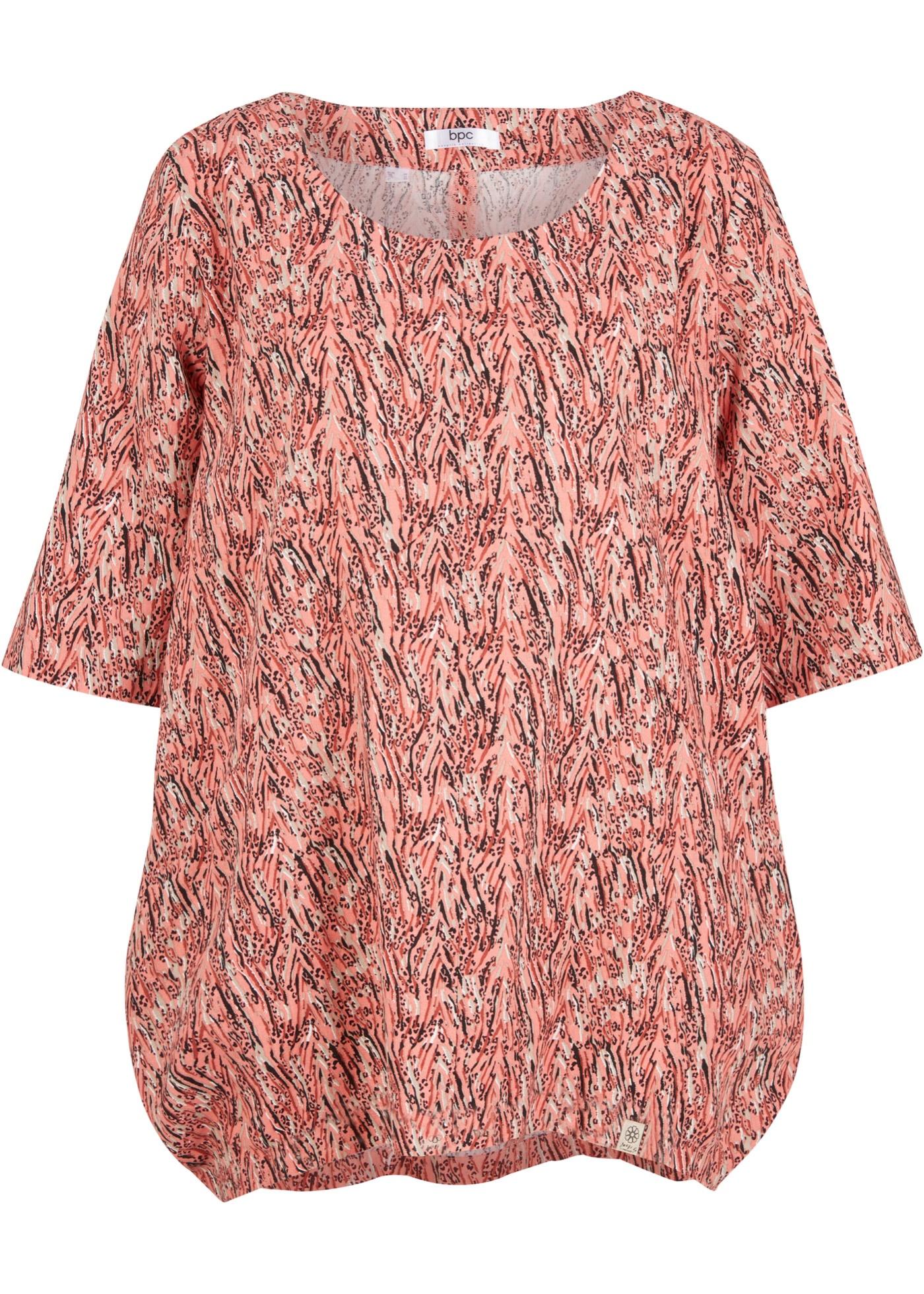 Leinen-Blusenshirt kurzer Arm  in rot für Damen von bonprix