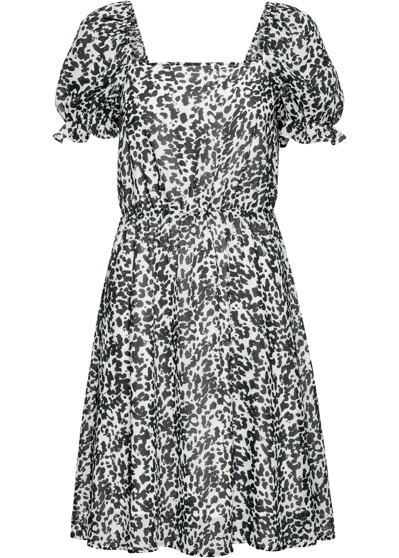 Kleid kurzer Arm  in schwarz (Rechteckiger Ausschnitt) für Damen von bonprix