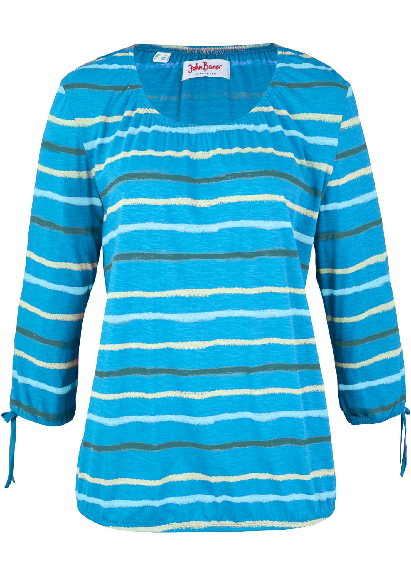Baumwoll Shirttunika, bedruckt, 3/4-Arm in blau für Damen von bonprix