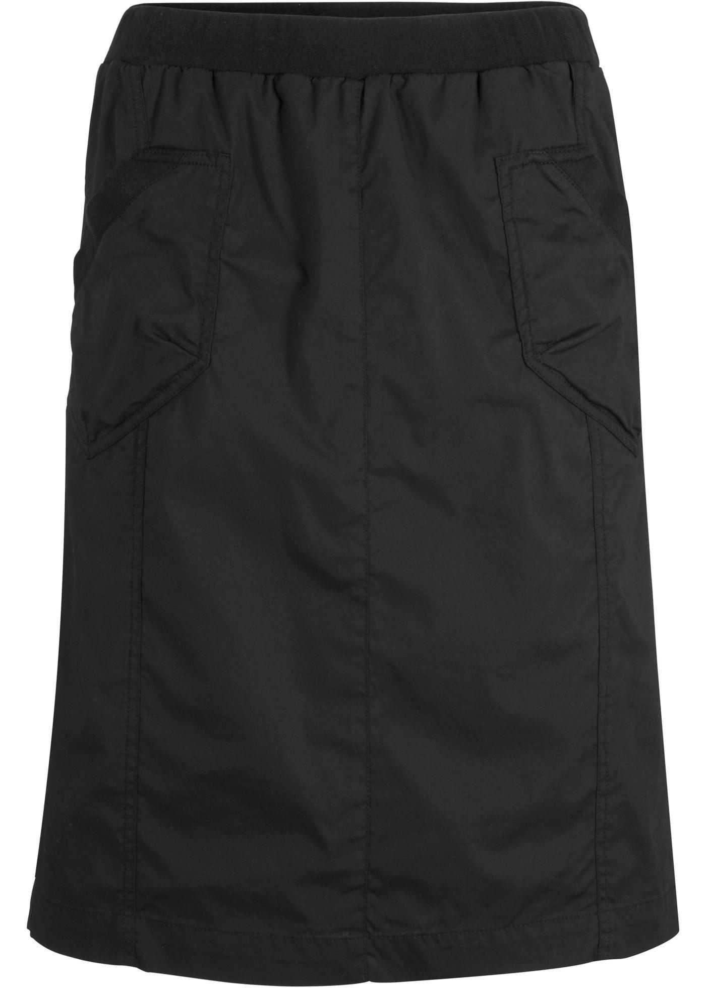 Stretch-Cargorock mit Ripp-Einsatz in schwarz für Damen von bonprix