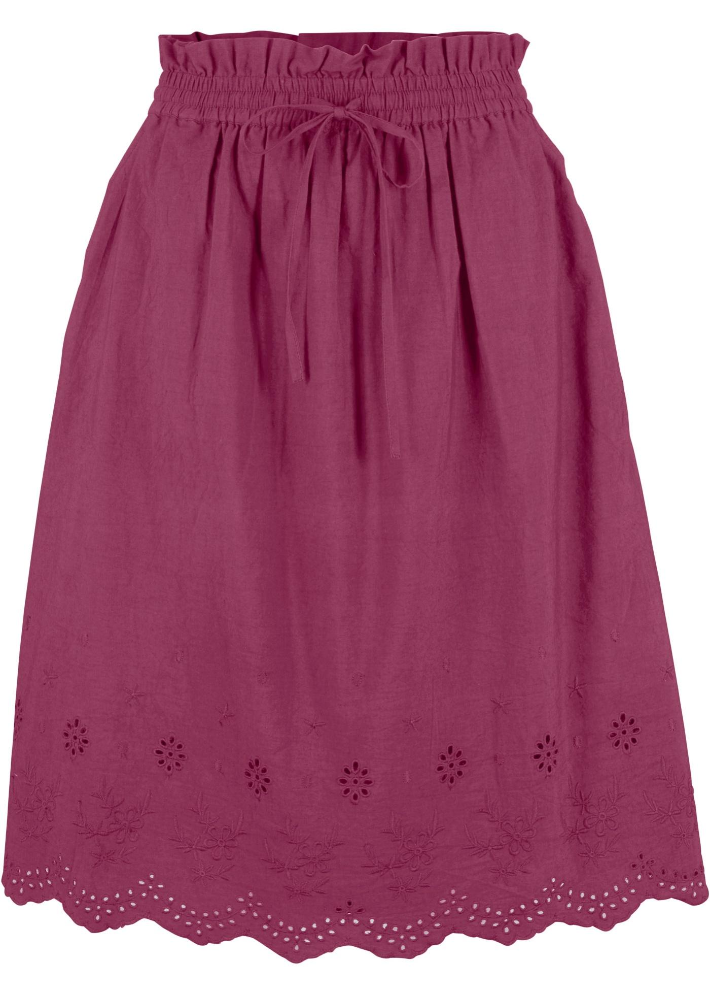 Baumwollrock mit Lochmuster in lila für Damen von bonprix