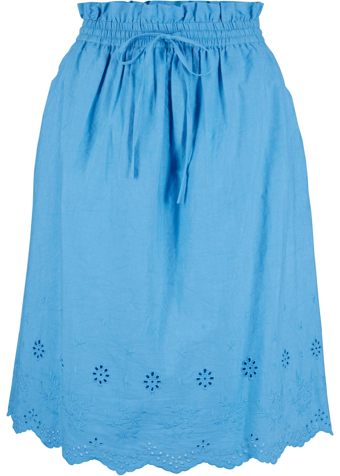 Baumwollrock mit Lochmuster in blau für Damen von bonprix