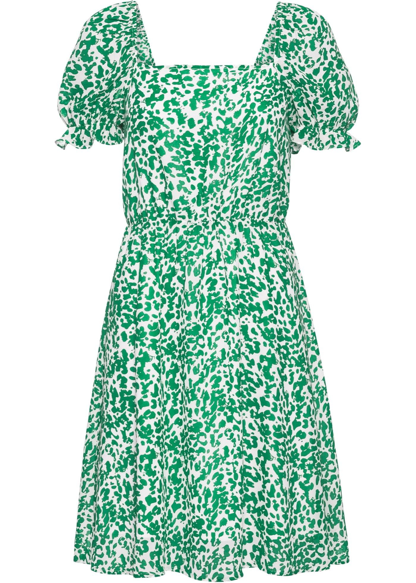 Kleid kurzer Arm  in grün (Rechteckiger Ausschnitt) für Damen von bonprix