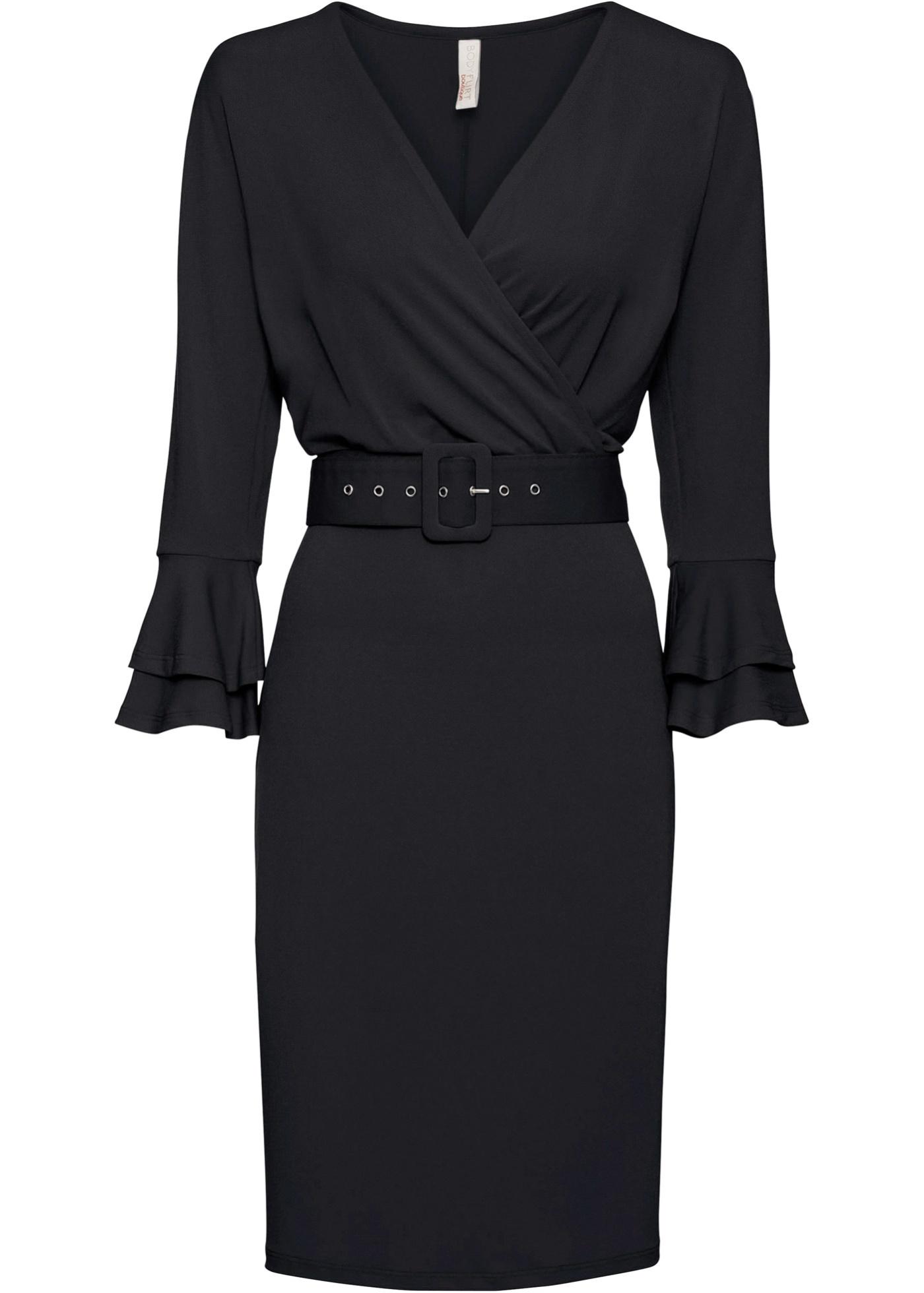 Kleid und Gürtel-2teiliges Set 7/8 Arm  in schwarz für Damen von bonprix
