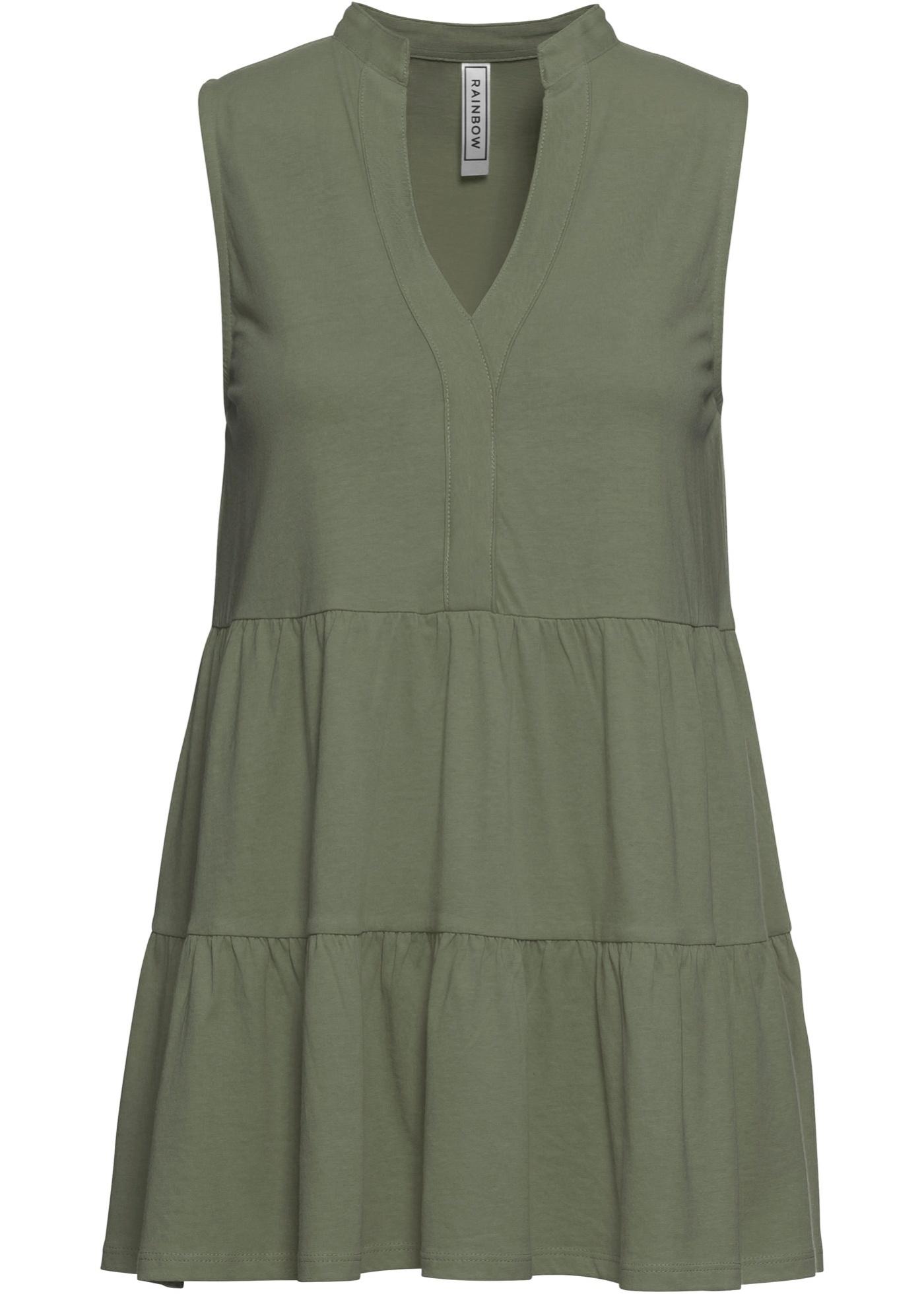 Shirttop ohne Ärmel  in grün (V-Ausschnitt) für Damen von bonprix