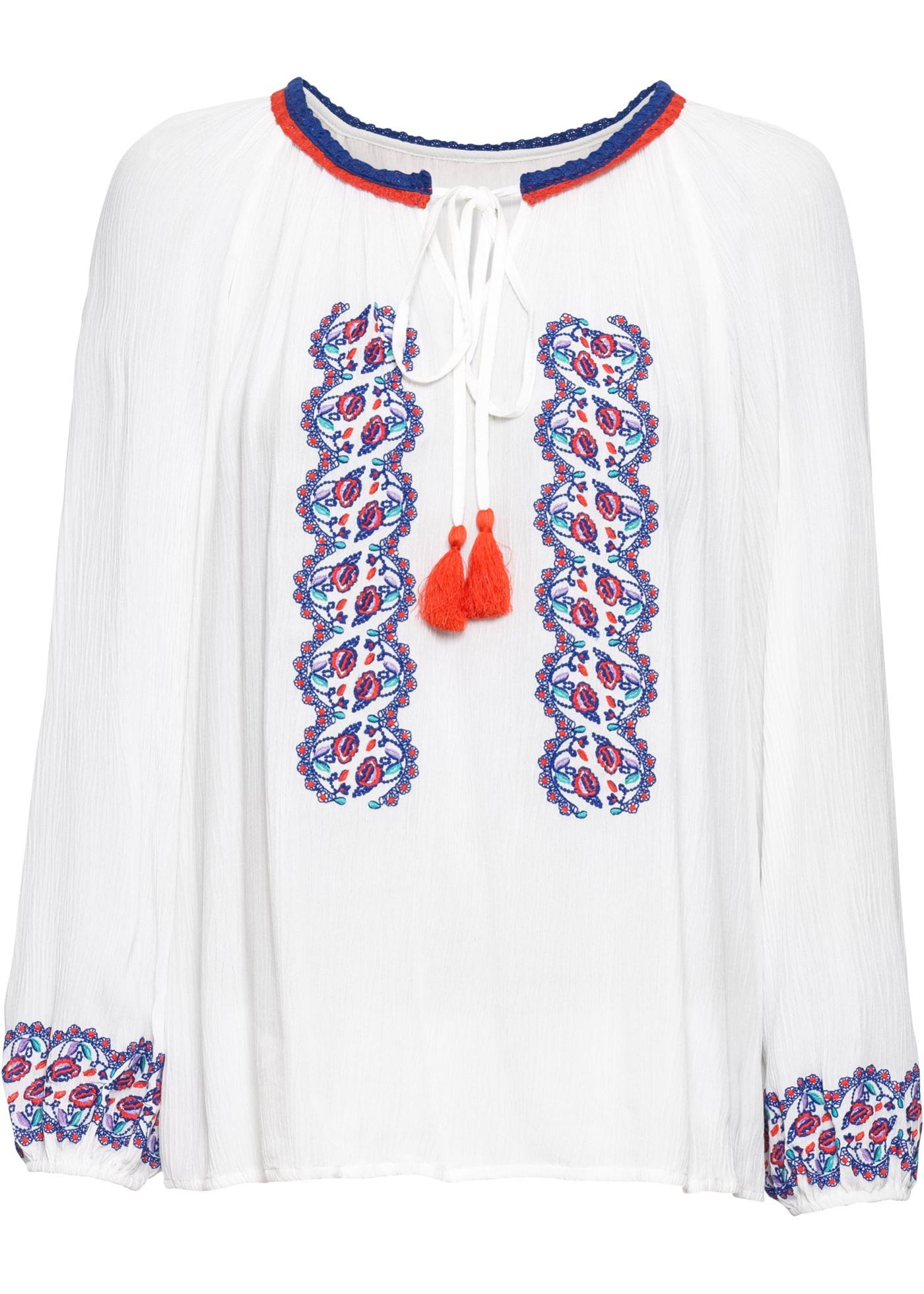 Tunikabluse mit Stickerei langarm  in weiß für Damen von bonprix