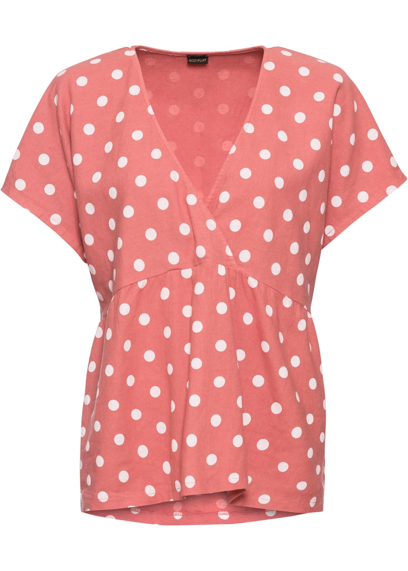 Leinen-Tunikabluse kurzer Arm  in rot für Damen von bonprix