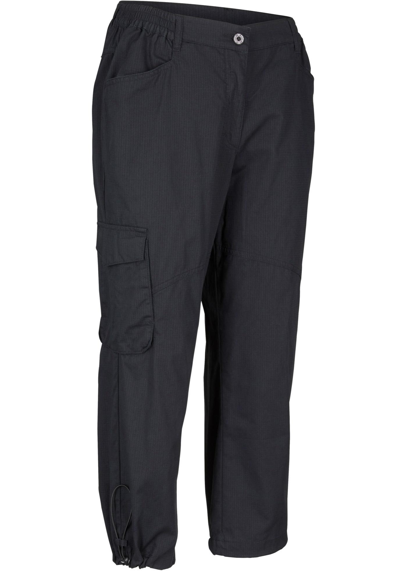 Bequeme Baumwoll-Trekkinghose, kurz in schwarz für Damen von bonprix