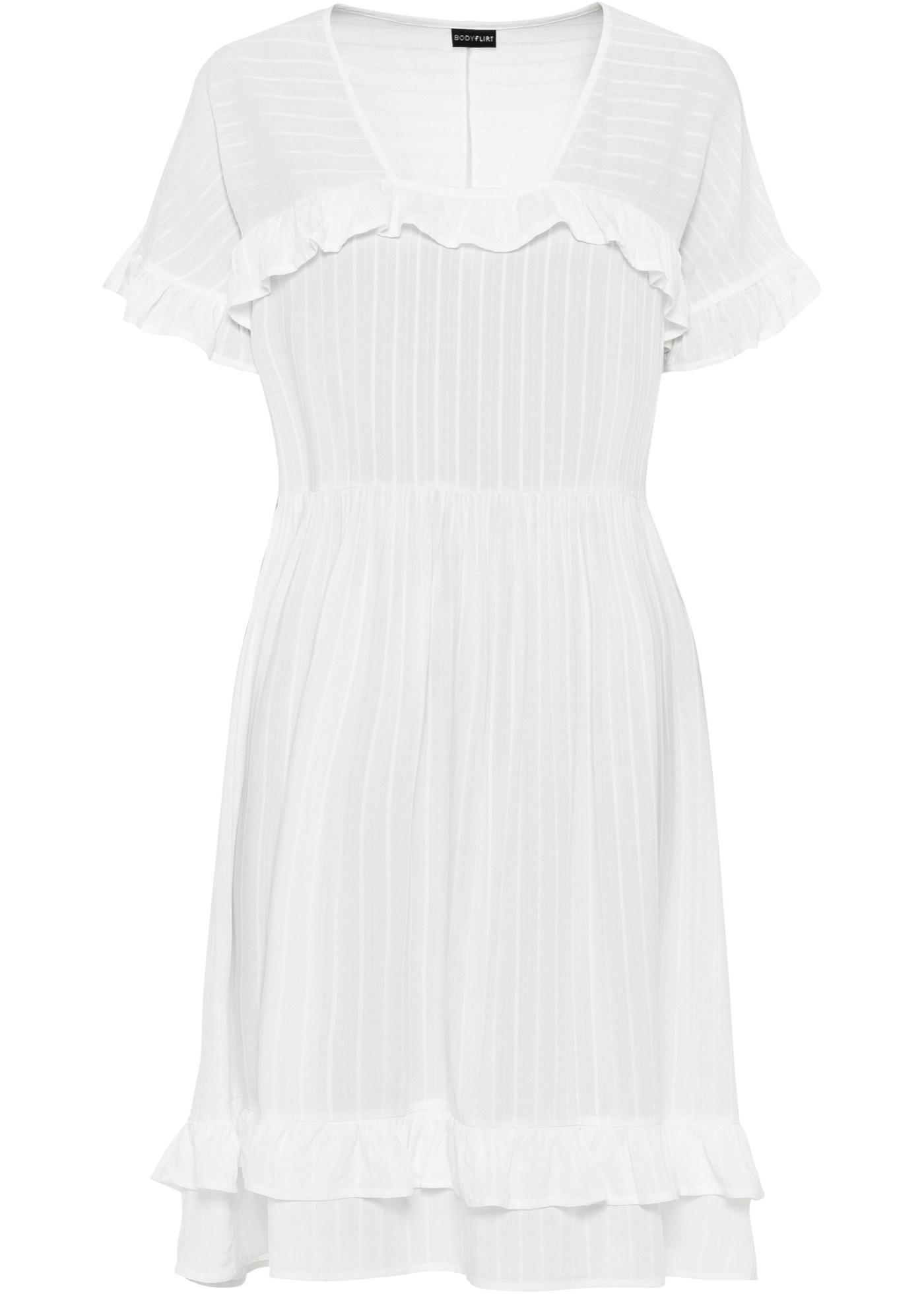 Kleid kurzer Arm  in weiß für Damen von bonprix