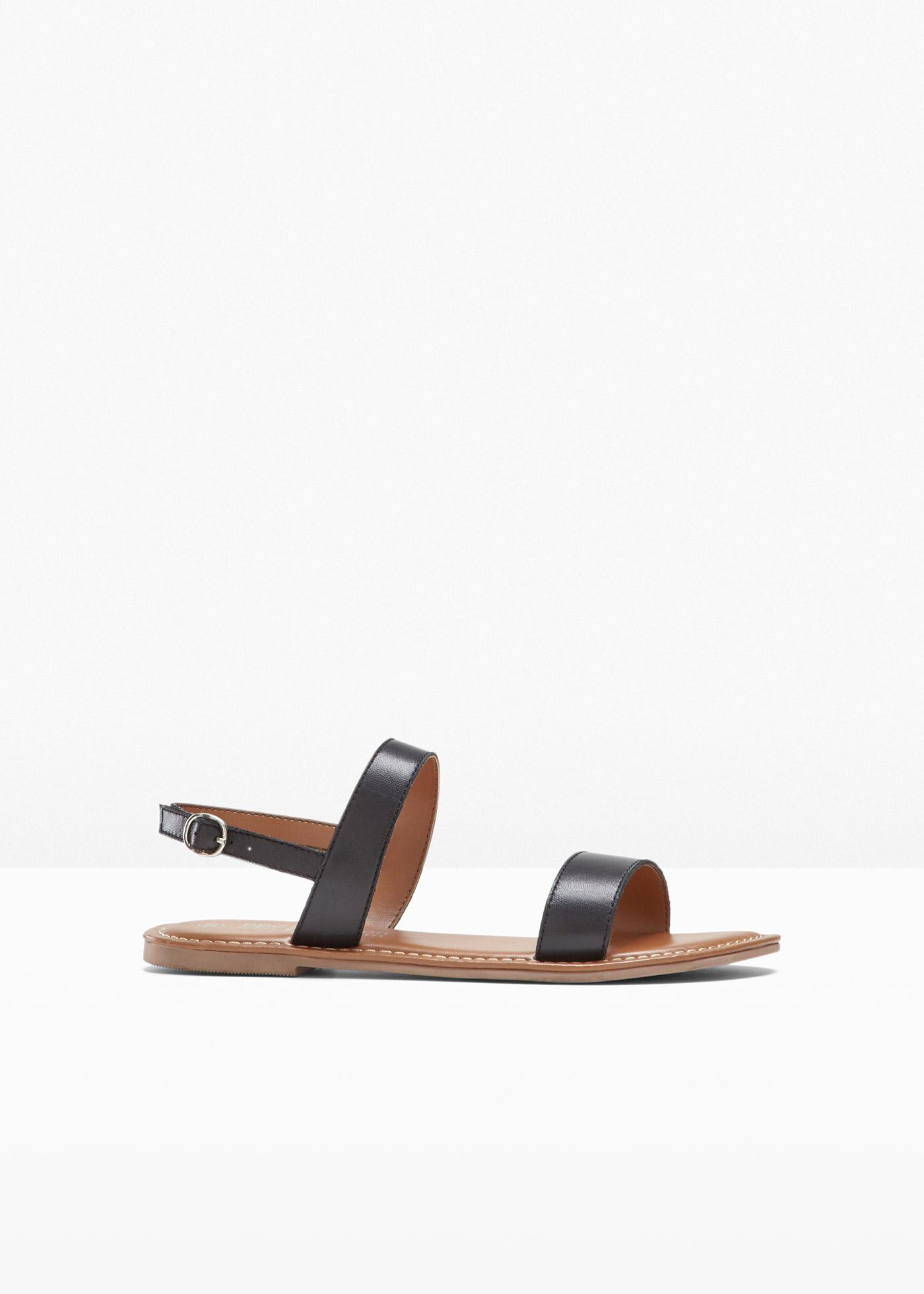 Sandale aus Leder mit 0 cm Flach in schwarz von bonprix