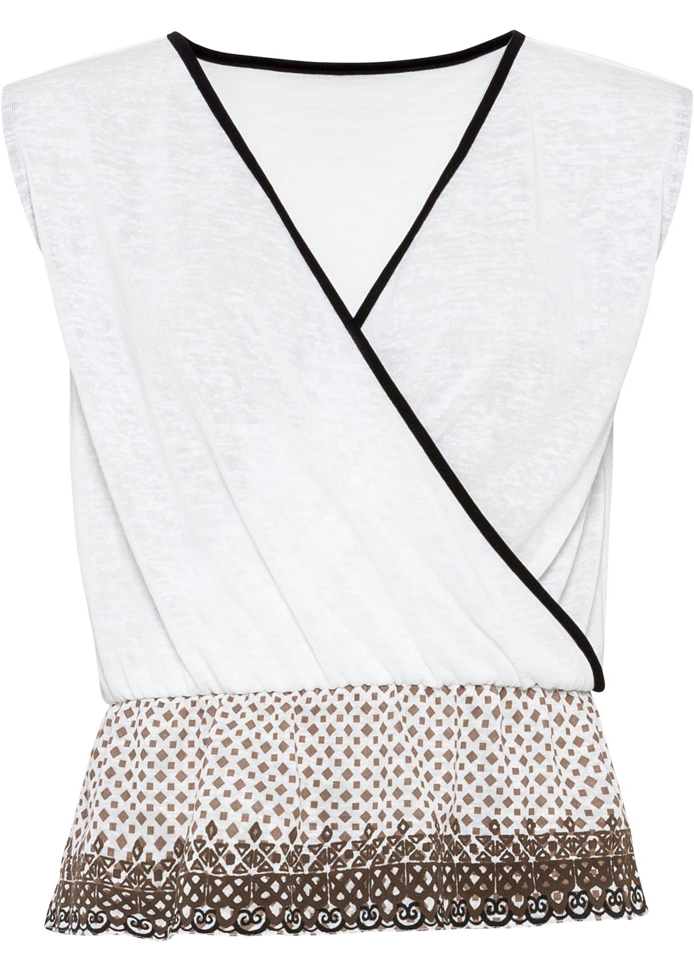 Shirt in Wickeloptik ohne Ärmel  in weiß für Damen von bonprix