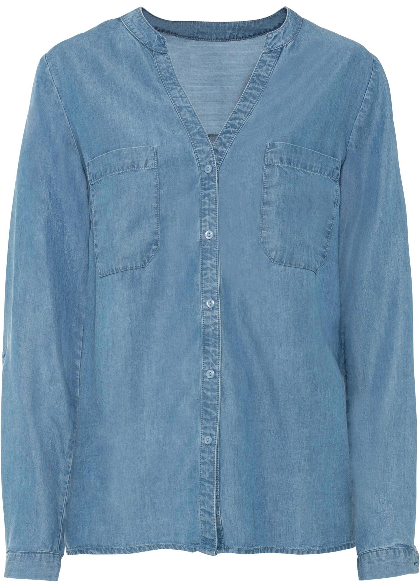 Tencel-Bluse langarm  in blau für Damen von bonprix