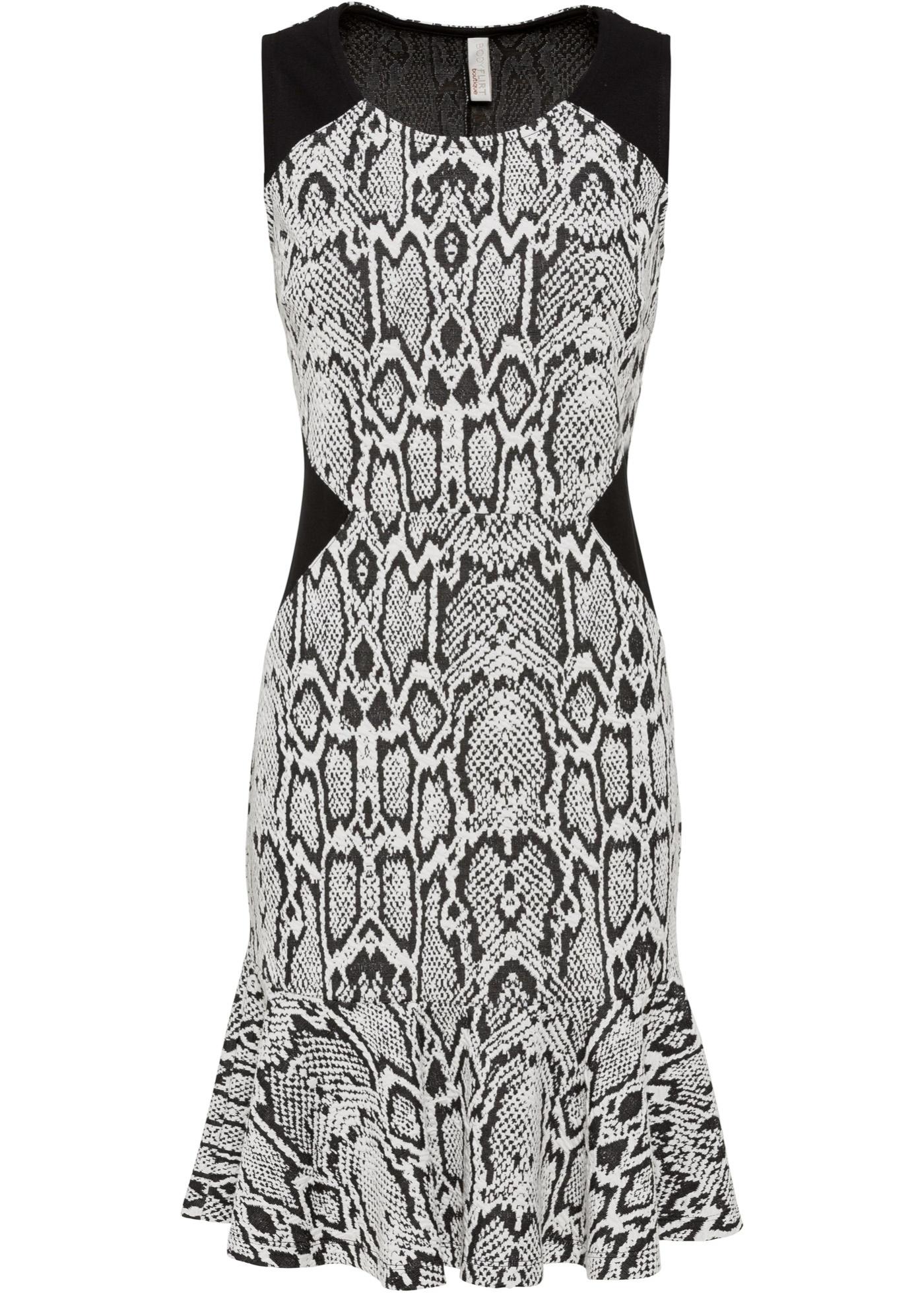 Kleid mit Schlangenmuster ohne Ärmel  in weiß für Damen von bonprix