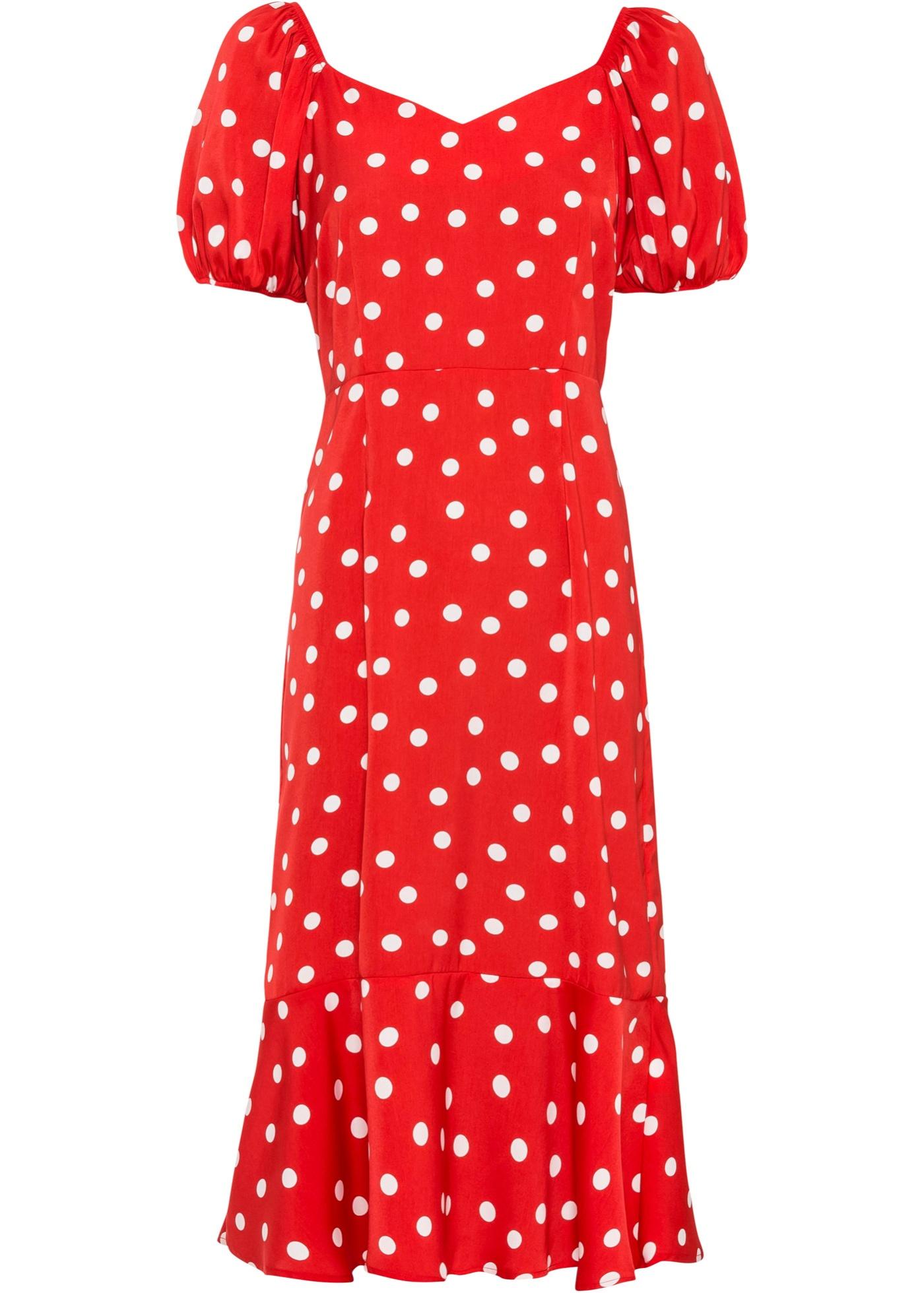 Kleid mit weiten Ärmeln kurzer Arm  in rot für Damen von bonprix