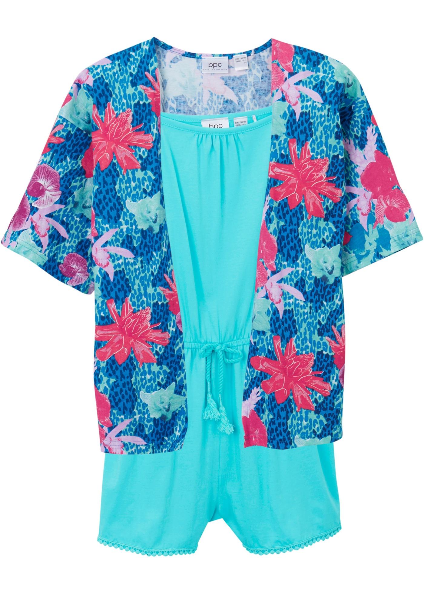 Mädchen Jumpsuit und Shirtjacke (2-tlg.Set) ohne Ärmel  in blau für Mädchen von bonprix