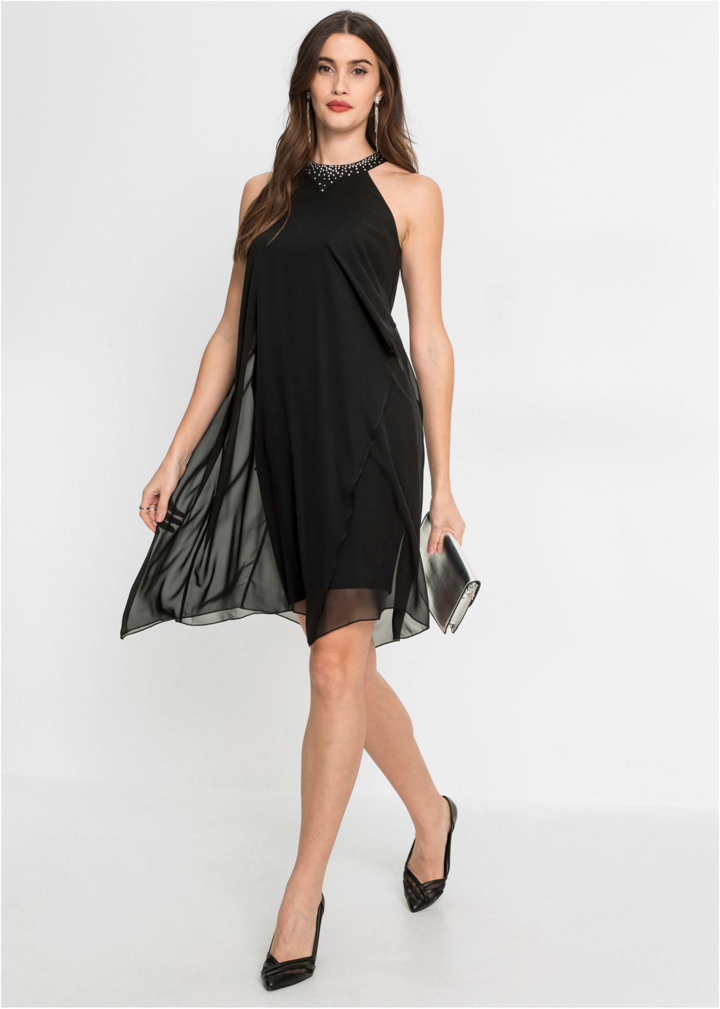 Kleid mit Chiffon und Applikation, BODYFLIRT