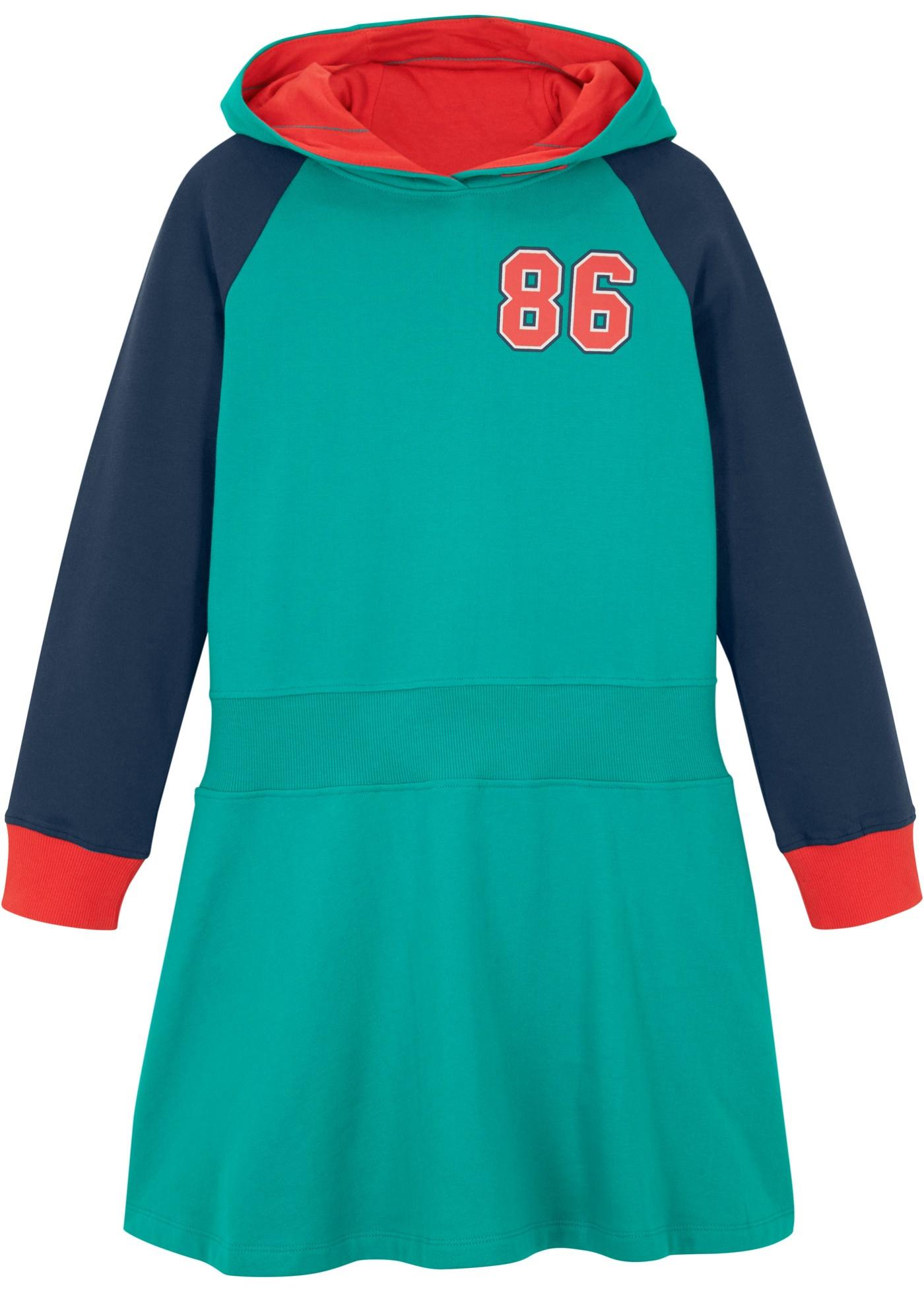 Mädchen Kapuzen-Sweatkleid aus Bio-Baumwolle