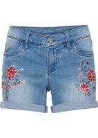 6c2886122ec3a Schöne Jeans-Shorts mit Stickerei und Umschlagsaum