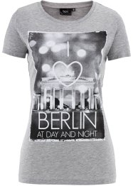 "Shirt, Kurzarm, bpc bonprix collection, hellgrau meliert bedruckt ""Berlin"""