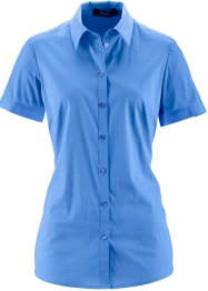 Kurzarm-Stretchbluse, bpc bonprix collection, himmelblau
