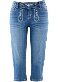 3/4-Trachtenjeans mit Stickerei, bpc bonprix collection, blue stone
