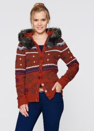 Strickjacke mit Kapuze, bpc bonprix collection, grau meliert gemustert