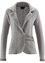 Trachten-Strickjacke, bpc bonprix collection, grau meliert/weiß