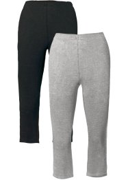 Stretch-Caprileggings, bpc bonprix collection, hellgrau meliert+schwarz