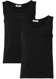 Tanktop (2er-Pack) Slim Fit, bpc bonprix collection, schwarz + schwarz