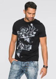 T-Shirt Slim Fit mit Print, RAINBOW, schwarz
