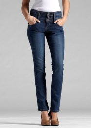 Jeans stretch skinny com costuras laterais e cós largo