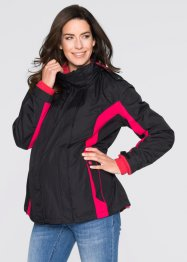 3-in-1 Funktionsjacke (mit Fleecejacke & Einsatz), bpc bonprix collection, schwarz/rosenrot