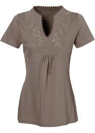 Kurzarmshirt, bpc bonprix collection, taupe