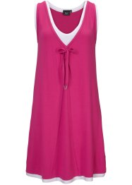 Kleid, 2 in 1-Optik, bpc bonprix collection, mittelfuchsia/weiß
