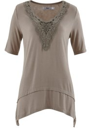 Halbarm-Zipfel-Shirt, bpc bonprix collection, taupe