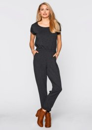 Jersey-Jumpsuit, bpc bonprix collection, hellgrau meliert