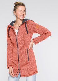 Strickfleece-Langjacke, bpc bonprix collection, lachs/schiefergrau meliert