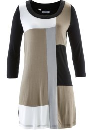Shirt-Tunika, 3/4-Arm, bpc bonprix collection, taupe/schwarz