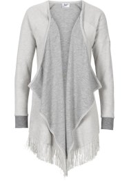 Sweatjacke in Strickoptik, bpc bonprix collection, hellgrau meliert
