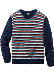 V-Pullover Regular Fit, bpc bonprix collection, dunkelblau gestreift