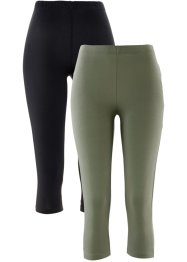 Stretch-Caprileggings, bpc bonprix collection, oliv+schwarz